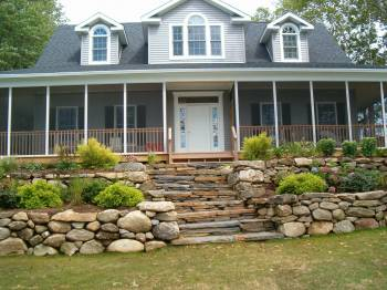 Goshen stone steps with native stone walls and plantings